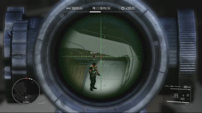 You can see at the top of the HUD the wind speed and direction and distance from the target, so you can aim to compensate for all that. Or you can just line up the red circle with the baddie's head.
