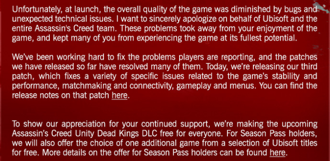 Excerpt of an apology email sent to all Unity players.
