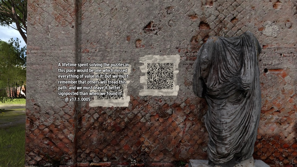 That's... needlessly deep... These QR codes were painted by past AI, and they have some interesting ideas sometimes. Other times, walls of Greek ruins are treated like toilet cubicle walls or online forums. One and the same.